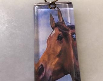 Plain Bay Horse Glass Tile Pendant   Horse Pendant   stocking stuffer gift for   Domino Glass Horse Pendant   Horse Lover Gift