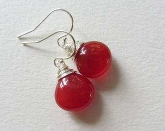 Orange Carnelian Earrings with Sterling Silver Ear Wires - Wire Wrapped Dangle and Drop Jewelry - Made in Seattle - Ready for Gifting