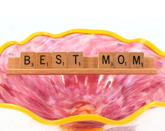 BEST MOM Scrabble Letters Sign Award RECYCLED