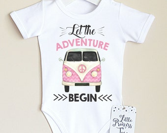 Adventure Baby Girl Bodysuit.  Retro Baby Girl Clothes. Adventure Begins Baby Girl Outfit. Coming Home Outfit. Hipster Baby Clothes.