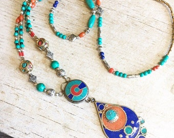 Long beaded necklace, long blue necklace, ethnic beaded necklace