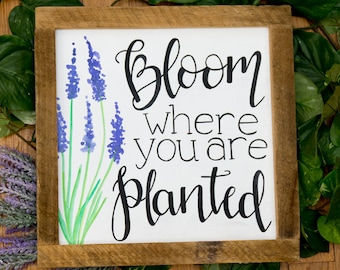 Bloom where you are planted Spring signs Spring decor Framed spring signs Mother's day gifts New spring signs Rustic spring signs Wood signs