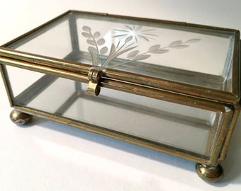 Small Hinged Brass and Glass Box with Etched Floral Design