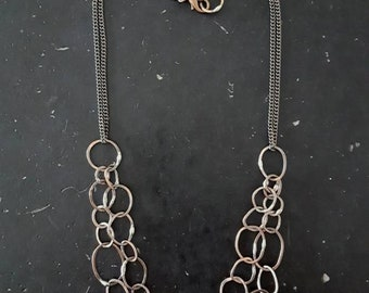 Handmade Copper Pebble Link Chain Necklace - Mixed Metals