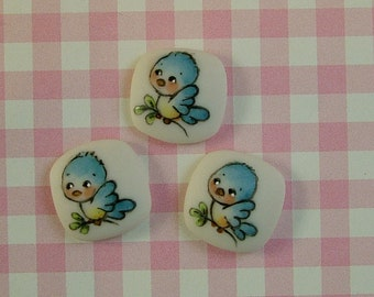 Blue Bird Button set of 3