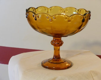 Large Vintage Amber Compote or Serving Dish