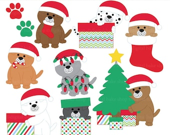 christmas clipart clip art puppies puppy - Christmas Puppies Clipart - BUY 2 GET 2 FREE