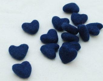 3cm 100% Wool Felt Hearts - 10 Count - Navy Blue