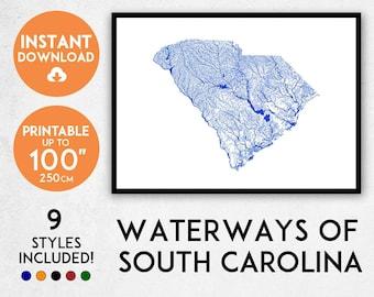 South Carolina map print, Printable South Carolina map art, South Carolina print, USA map, South Carolina art, South Carolina poster