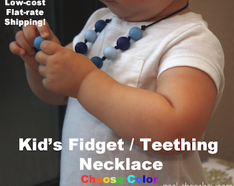 Kids Fidget Necklace / Toddler Silicone Teething Necklace Fidget Jewelry Chew Beads for Child Boy Girl Necklace Sensory Autism ADHD
