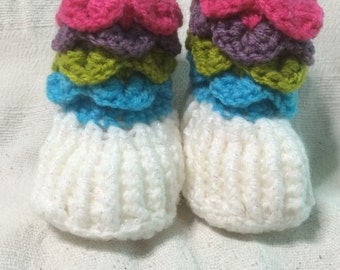 Handmade Crochet  Crocodile Stitch Multi-Coloured Baby Boots/Shoes/Slippers    Sizes 0-6/6-12 Months Old