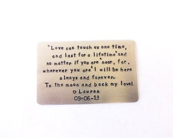 Wallet Insert Card, LoVE Can Touch Us And Last For a Lifetime, Engagement Gift, Wedding Gift ,You Create Your Own Message