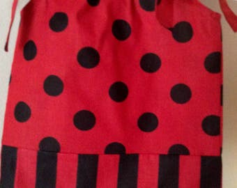 MINIE MOUSE Inspired red and black PILLOWCASE Girls Dress. Party dress, church dress, spring dress, Summer wear, great gift idea.