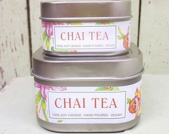 Chai Tea Soy Candle 4 oz. - Green Daffodil - Handpoured - Siouxsan and Anne -C4