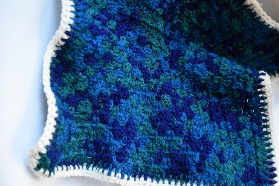 Stormy Sky Gradient Cat Mat -- Granny Square Style Pet Blanket