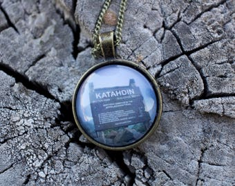 Katahdin: Appalachian Trail Northern Terminus Sign Photo Pendant With Necklace