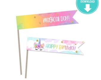 "Watercolors unicorn Printable Straw Flags  ""Happy Birthday""  - Unicorn party decor, Unicorn labels - Instant download"