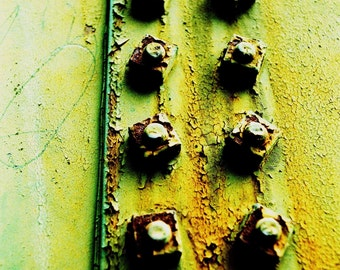 Water Tower : macro photography industrial metal cross process yellow green abandoned paint rust decay decor 8x12 12x18 16x24 20x30 24x36