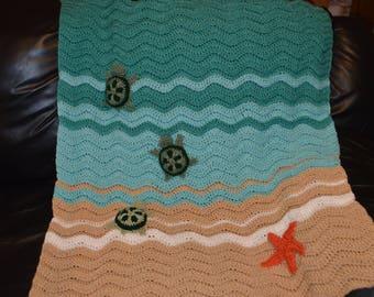 "Crocheted Sea Turtle Afghan 32""x38"""
