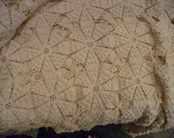 Vintage Hand Crocheted Cotton Bed Coverlet or Tablecloth Light Cream Lace Queen