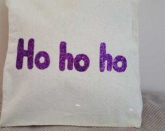 Purple Ho ho ho  canvas tote shoulder bag