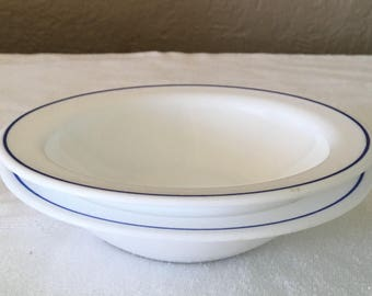 """Vintage Arcorpal 6"""" bowls with blue stripe"""
