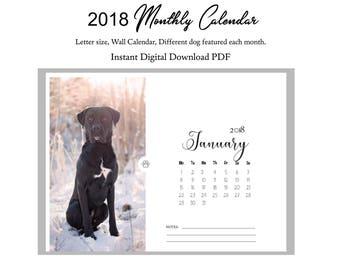 2018 Monthly Calendar, Printable Dog Calendar, 2018 Digital Download, Printable Monthly Calendar, Dog Wall Calendar, Digital Download
