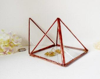 Glass Pyramid, Glass Display Box, Copper Tone Finish, Small Jewelry Box, Small Pyramid, Ring Bearer Wedding Ring Box