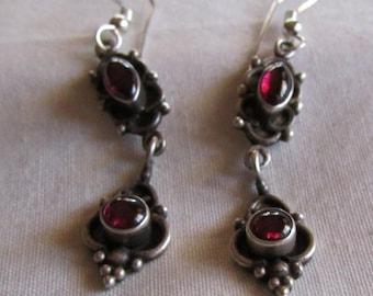 Sterling Silver and Garnet Wire Dangle Earrings