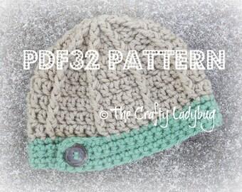 Button band textured beanie hat pattern - unisex hat pattern - PDF32 instant download
