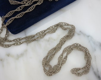 Mexican Wedding Necklace - Twisted Silver Rope Chain, Long Chain Necklaces for Women