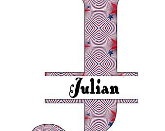 26 Names 2A Split Letter Monogram-Digital ClipArt-JPG-Art Clip-Stars-Gift Tag-Notebook-Scrapbook-banner-The 4th of July-gift card.