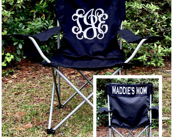 Monogrammed Chair, Camp Chair, Beach Chair, Groomsman gifts, Wedding gifts, Coaches chair, Soccer Mom Personalized Chair