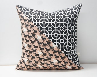 Patchwork Pillow Cover, 20x20, black and white with horses