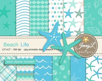 50% OFF Beach digital papers and Star fish clipart SET, Ocean, water wave for Digital Scrapbooking, wedding, birthday invitations Planner