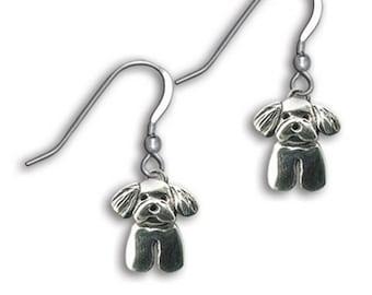 Silver Maltese Puppy Earrings