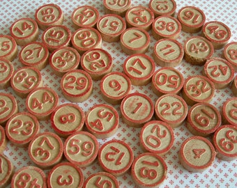 complete 60 vintage double-sided wooden lotto bingo numbers