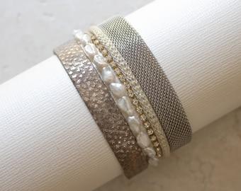 Leather, Pearl & Metal Mesh Cuff Bracelet