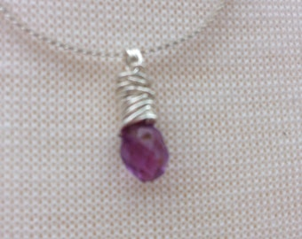NECKLACE -Dainty Amethyst Pendant Necklace Handmade  Sterling Silver Petite Faceted Teardrop Briolette Penant Necklace
