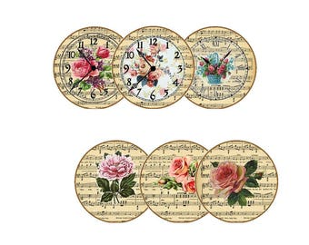 Instant Download Vintage Round Circles  Images Embellishments Pdf