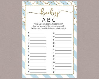 BABY ABC GAME baby items game alphabet game Baby Shower