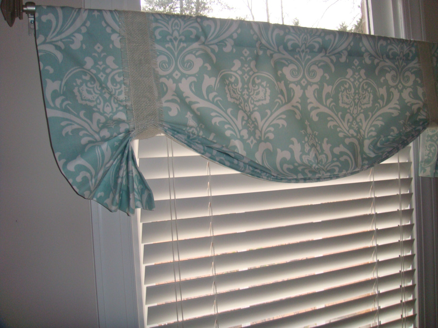 Pretty Robins Egg Blue Damask Tie up Valance Window Treatment