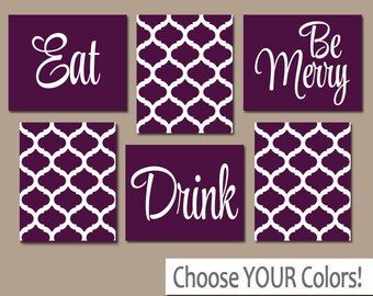 EAT DRINK Be Merry Wall Art, CANVAS Or Prints, Purple Kitchen Decor, Dining
