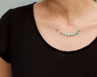 Marijuana  necklace with turquoise beads  - pot turquoise necklace - leaf turquoise necklace- weed gemstone necklace -