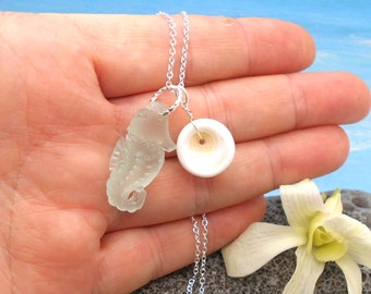 Beach Glass Necklace, Seahorse Necklace With Large Puka Shell - Hawaii, Beach Wedding, Beach Glass, Sea Glass, Beach Glass Jewelry, Seahorse
