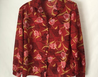 Graff Californiawear red polyester tulip print ladies blouse 1960s vintage size large L