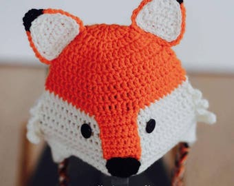 Fox hat crochet beanie baby child gift