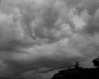 Near Ghost Ranch, Abiquiu, NM-Storm Approaching Near Orphan Mesa - 0393 bw