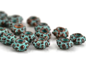 Mykonos Bali Style Grover - 6mm Green Patina - Bumpy Rondelle - QTY: 20, 50 or 100