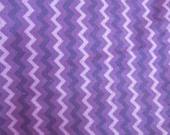 Purple chevron laminated cotton fabric